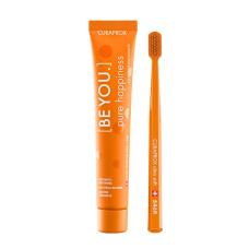 Зубные щетки Curaprox - Набор Curaprox Be You Orange set (Зубная паста Чистое счастье (персик и абрикос) + Зубная щетка CS5460)
