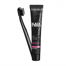 Зубные пасты Curaprox - Набор Black is White (щетка CS 5460 черная + отбеливающая паста 90 мл вкус лайма) Curaprox