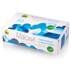 Одноразовые расходные материалы - Маски на резинках медицинские трехслойные LEBOO Лебо (50шт/уп)